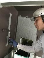 9-9、1階部外壁ダイヤカレイド中塗り1回目塗装(2)