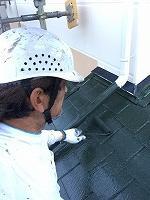 9-23屋根サーモアイフッ素上塗り2回目塗装2