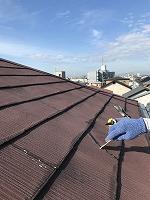9-13大屋根、変性シリコンクラック補修作業(1)