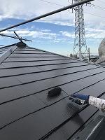9-14大屋根(南面)サーモアイ4Fフッ素上塗り3回目塗装