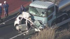 乗用車が中央分離帯を越えタンクローリーと正面衝突 母子2人死亡 千葉