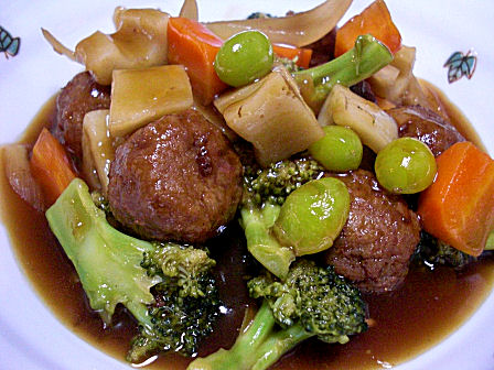 野菜と鶏団子の甘酢煮