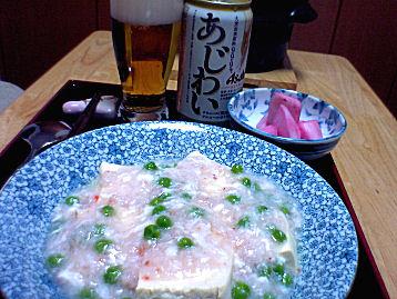 蟹あんかけ豆腐で一杯