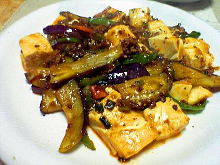 豆腐と茄子の麻婆炒め