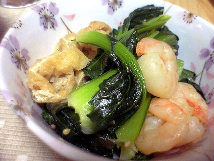 小松菜と小エビの煮びたし