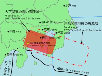 関東大震災の震源域