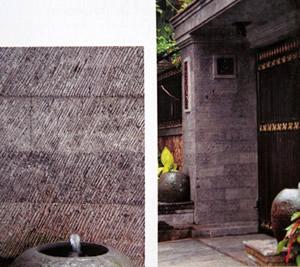 バリ島オリジナルの石といえば…パラスクロボカン。壁面に使うと高級な印象に…。