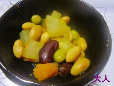 かぼちゃと大根とお豆の煮物