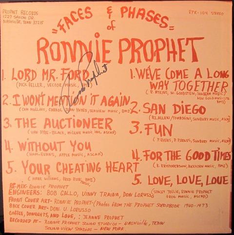 Ronnie Prophet - RPR-104 back