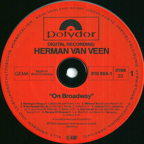 Herman van Veen - On Broadway 1983 r1