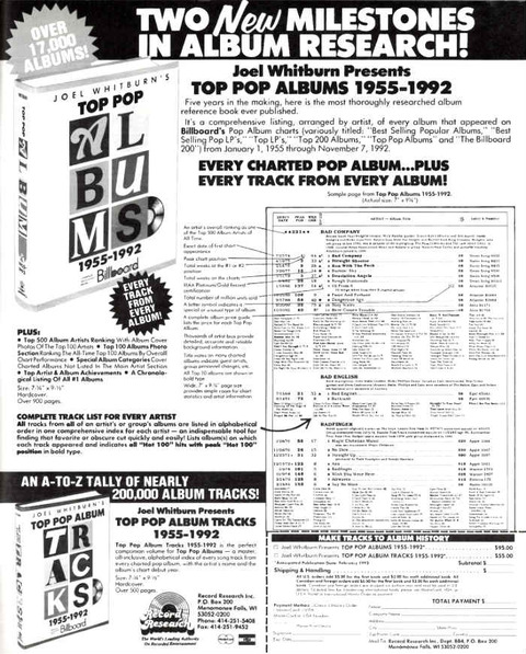 Joel Whitburn - Top Pop Albums 1955-1992 ad Dec1992