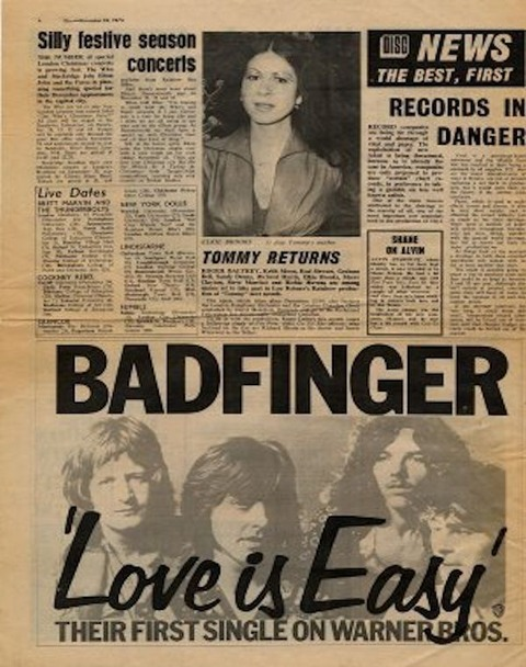 Disc 1973 Badfinger - Love is Easy ad
