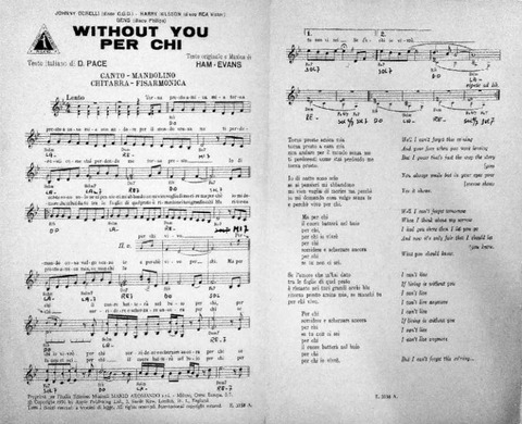Without You Per chi Johnny Dorelli Gens Nilsson sheet music 2