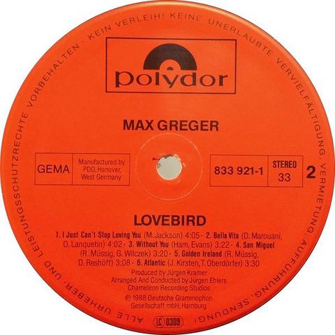 Max Greger - Lovebird 1988 LP r
