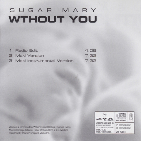 Sugar Mary - Without You 9581-8 back