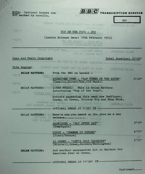 BBC 380 Transcription Disc Top of the Pops 01