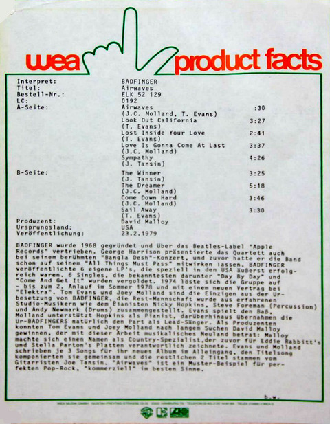 Badfinger - Airwaves wea product facts (Germany)