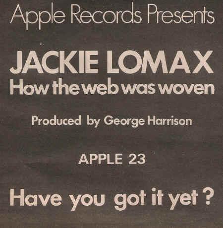 Jackie Lomax Feb 1970 ad