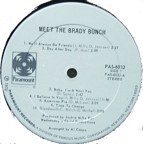 Meet the Brady Bunch LP 1972 r