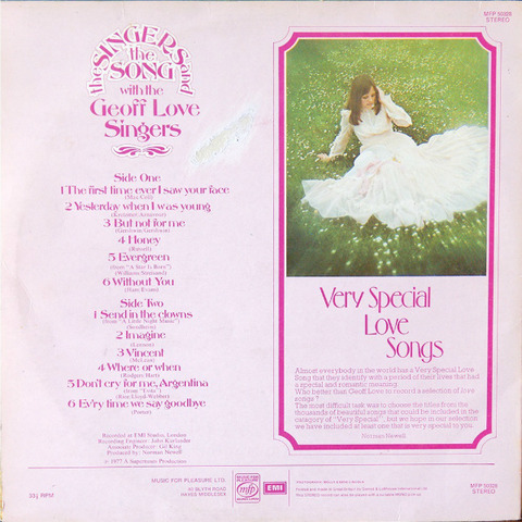 The Geoff Love Singers - Very Special Love Songs (LP1977) back