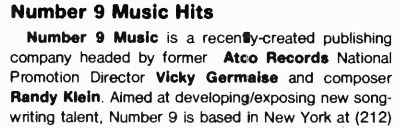 Victoria Germaise Number 9 Music (Jan 1983)