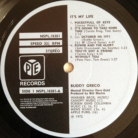Buddy Greco It's My Life UK r