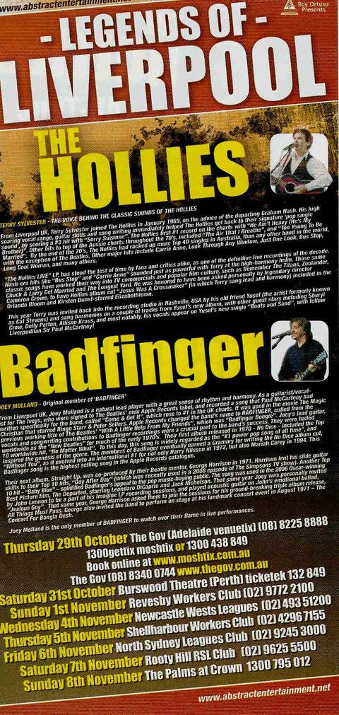 The Hollies  Badfinger Australian Tour 2009 Concert Flyer back