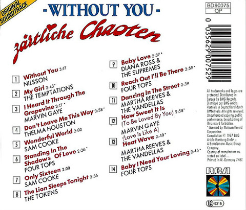 Zärtliche Chaoten Without You CD back