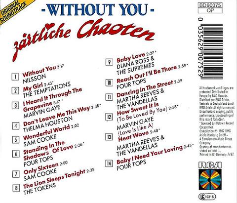 Zärtliche Chaoten Without You CD back