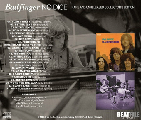 Badfinger No Dice Rare and Unreleased BFP107CDR back