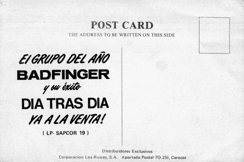 Badfinger 1972 Straight Up Promotional Post Card back