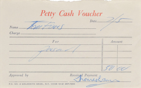 Autographs Signed Four Petty Cash Vouchers Tom