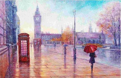 Canvas Wall Art - Purple Rainy Day in London