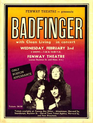 Badfinger Fenway Theatre (Feb 2, 1972)
