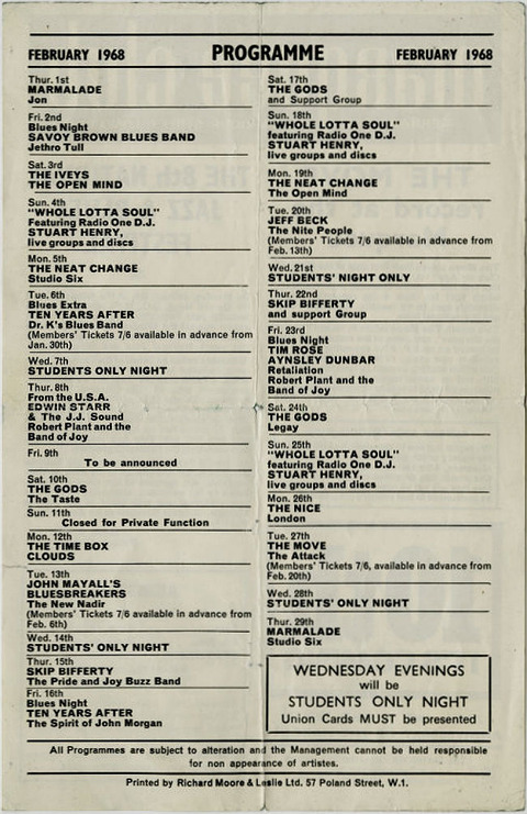 Marquee Club Programme Feb 1968