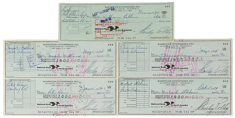 #7227 - Badfinger Set of (5) Signed Checks