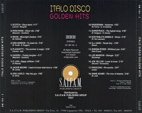 Sheena Ryder - Italo Disco Golden Hits (1994) back