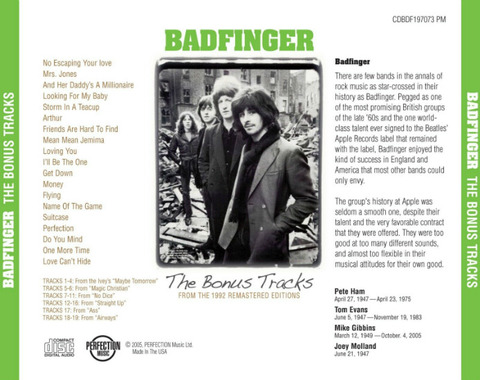 Badfinger The Bonus Tracks from the 1992 Remastered Editions b
