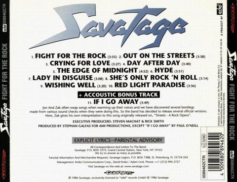 Savatage - Fight for the Rock 1997 Edel b