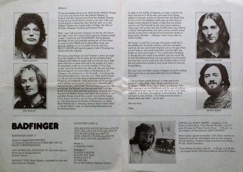 1974 Man+Badfinger Concert Programme 2