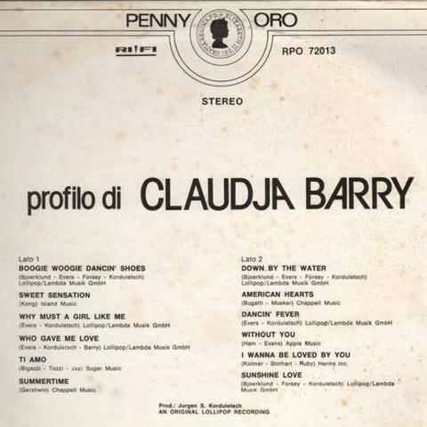 Claudja Barry - Profilo di (1980) back