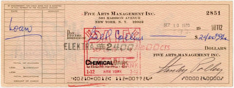Stan Polley Bill Collins Signed Cheque (1970)
