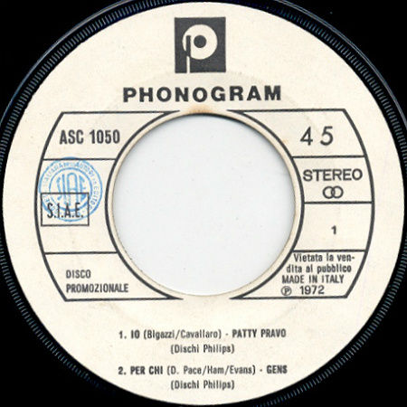 Gens - Phonogram ASC 1050 (EP 1972)