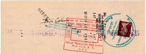Stan Polley Bill Collins Signed Cheque (1970) back