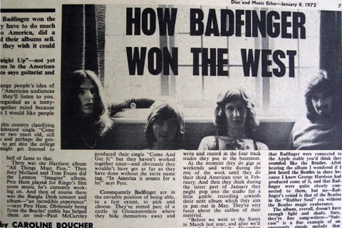 Disc and Music Echo Jan 8, 1972p7 Badfinger
