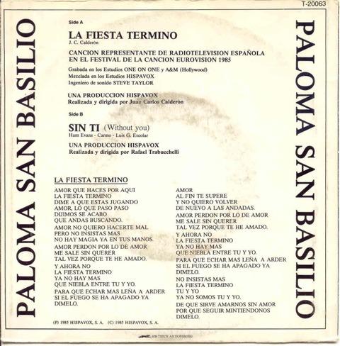 Paloma San Basilio - La Fiesta Terminó (1985) back