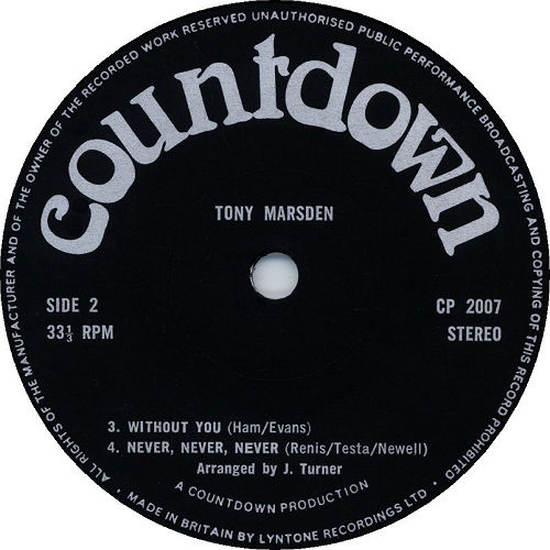 Tony Marsden Without You 1977 Badfinger Covers