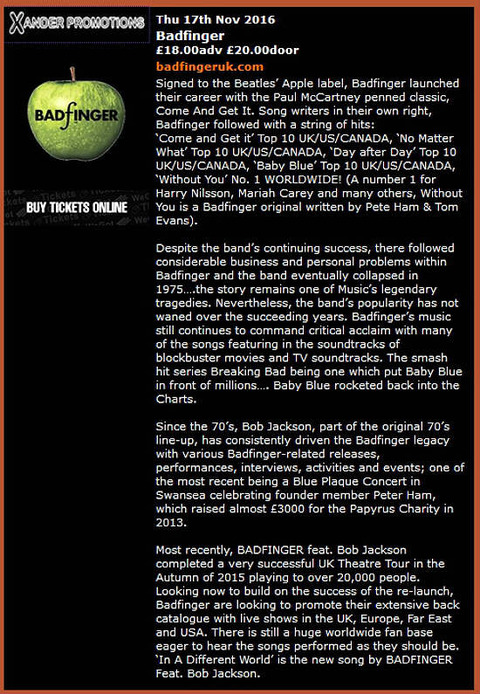 Badfinger UK Nov 17, 2016