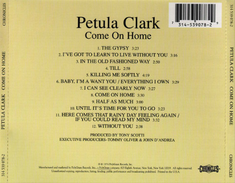 Petula Clark Come On Home CD back