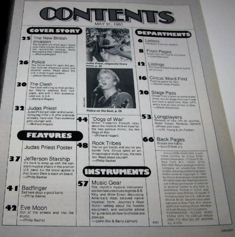 Circus Magazine May 31, 1981 contents